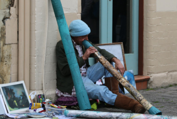 Basker playing the didgeridoo