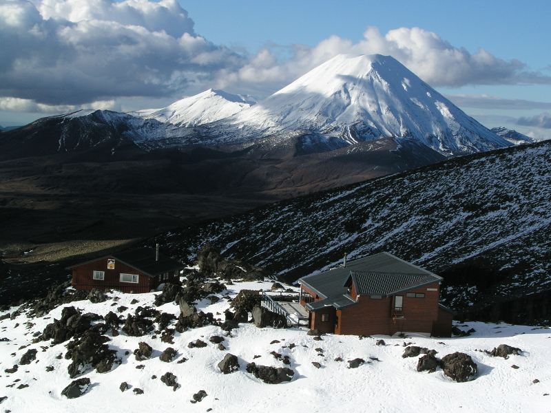 Views of Mt Ngauruhoe and Mt Tongariro from chairlift at Whakapapa Ski Field