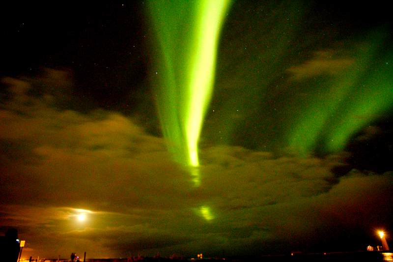 The Northern Lights as seen at the Grotta Lighhouse