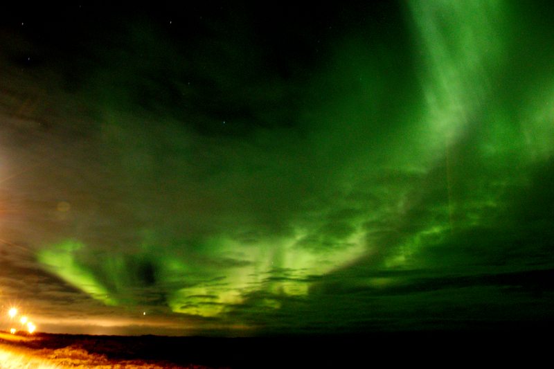 The Aurora as seen along the road to Keflavik.